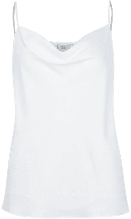 White sleeveless cowl neck cami top | River Island