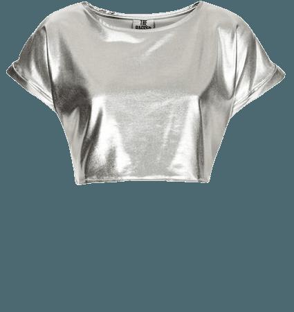 silver metallic crop top
