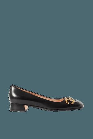 Black Baby horsebit-detailed leather pumps | Gucci | NET-A-PORTER