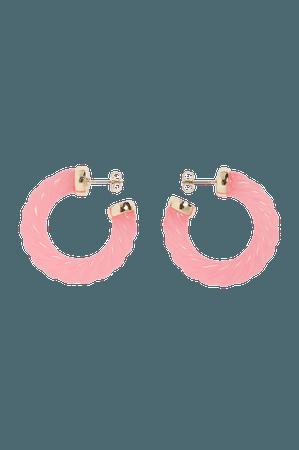 Spiral hoop earrings - Pink - Earrings - Monki WW