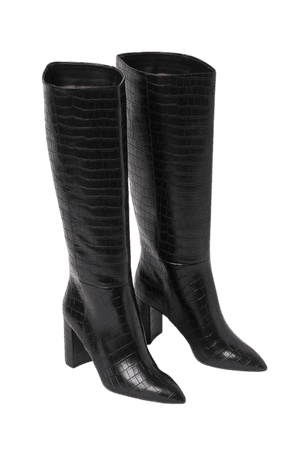 Crocodile-patterned Boots - Black - Ladies | H&M US