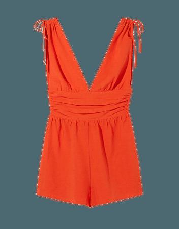 Linen blend gathered romper - Dresses - Woman | Bershka