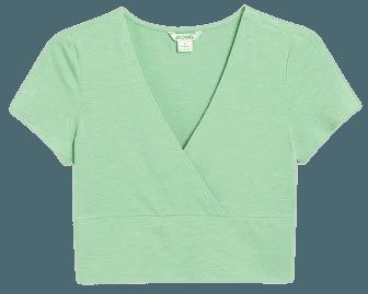 Cropped V-neck t-shirt - Light green - T-shirts - Monki WW