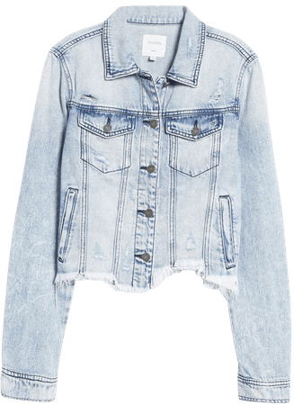 HIDDEN JEANS Frayed Hem Crop Denim Jacket | Nordstrom