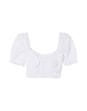 Swiss embroidery blouse with bow - Shirts and blouses - Woman | Bershka