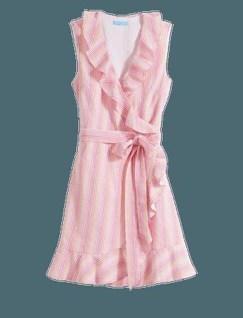 Reba Wrap Dress in Pink Seersucker – Draper James