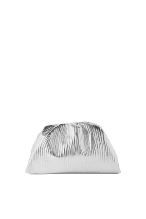 The Pouch Small Gathered Metallic Textured-leather Clutch - Silver