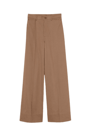 Wide-leg Twill Pants - Light brown - Ladies | H&M US