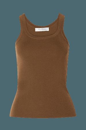 Gallo Ribbed Wool Tank - Brown