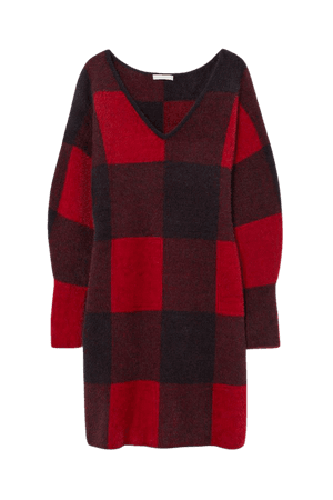 Knit Dress - Red/black plaid - Ladies | H&M US