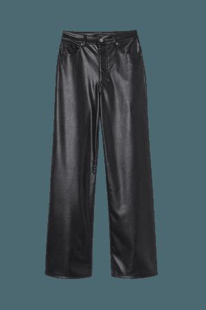 Wide-cut Faux Leather Pants - Black - Ladies | H&M CA