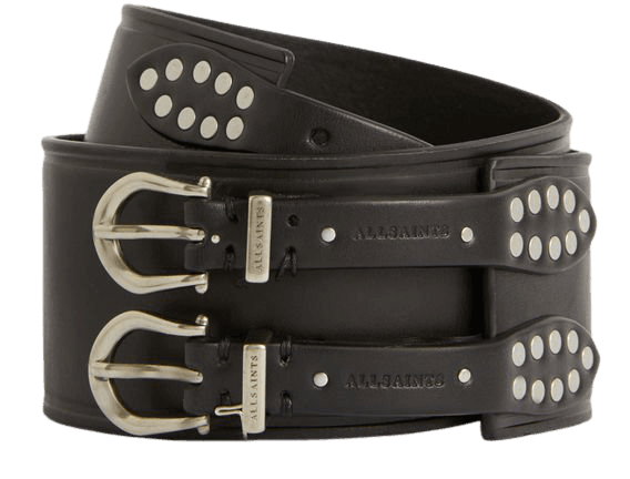 ALLSAINTS US: Womens Ariel Leather Belt (black)