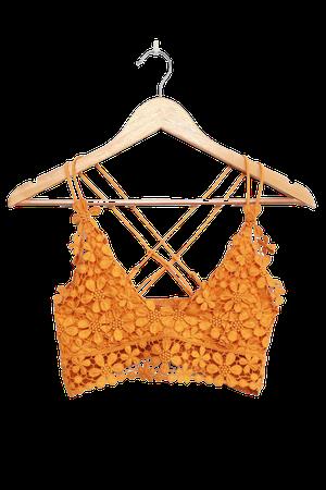Free People Miss Dazie Yellow - Crochet Lace Bralette - Lace Bra