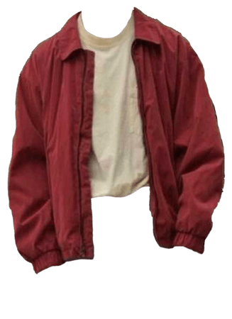 white tee shirt with a red jacket
