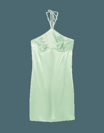 Short satin halter dress - Dresses - Woman   Bershka