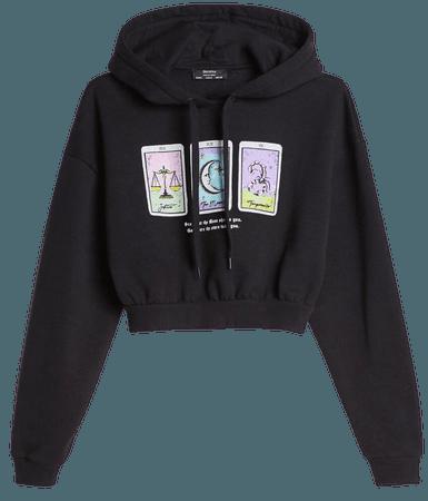 Hooded sweater with print - Sweatshirts and Hoodies - Woman   Bershka