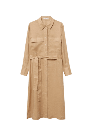 Linen-blend shirt dress - Women | Mango USA