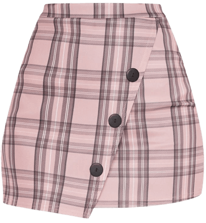 Pink Check Button Skirt | Skirts | PrettyLittleThing USA