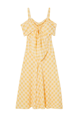 Lily Bow-detailed Cold-shoulder Gingham Cotton Midi Dress - Yellow