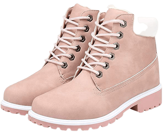 Amazon.com | Inornever Winter Snow Boots for Women Waterproof Shoes Flat Lace Up Ankle Booties Low Heel Work Combat Boots Red 9 B (M) US | Snow Boots