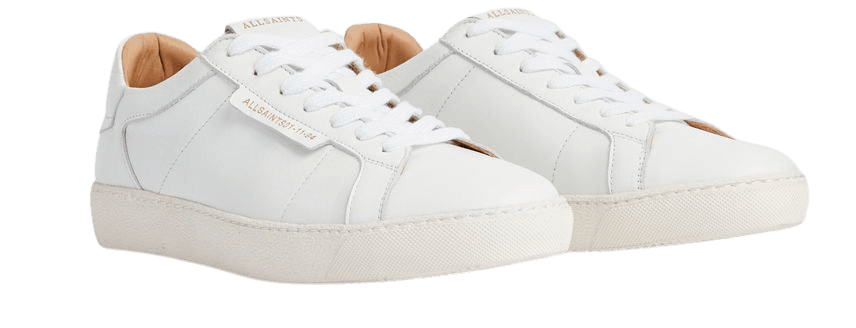 ALLSAINTS US: Womens Sheer Leather Sneakers (white)