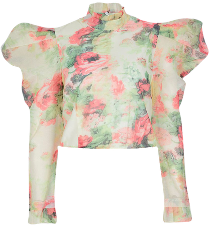 River Island Floral Puff Sleeve Blouse | Nordstrom