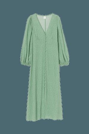 Puff-sleeved Dress - Green