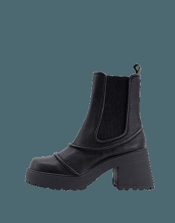 ASOS DESIGN Reason chunky mid-heel boots in black | ASOS