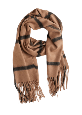Windowpane Check Wool Scarf - Beige Check - Fall & Winterscarves - & Other Stories