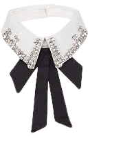 Collar with Black Bow Embellished with Rhinestones