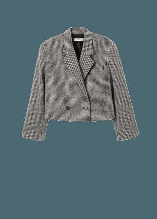 Houndstooth wool-blend blazer - Women   Mango USA
