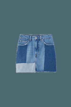Patchwork denim mini skirt - pull&bear