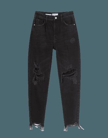 Ripped mom jeans - Denim - Woman   Bershka