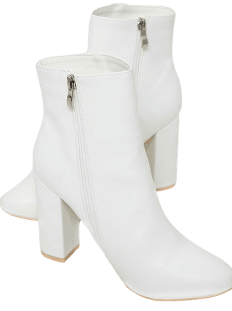 White Faux Leather Ankle Boot | Shoes | PrettyLittleThing USA
