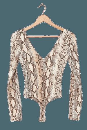 Sexy Snake Print Bodysuit - Long Sleeve Bodysuit - Beige Bodysuit