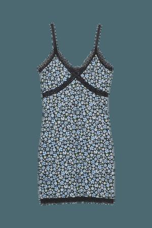 Ribbed Lace-trimmed Dress - Blue/floral - Ladies | H&M US