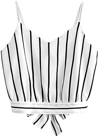 HGWXX7 Women Casual Sexy Tie V Neck Striped Crop Blouse Back Tank Tops Camis