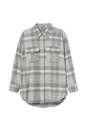 H&M+ Flannel Shirt - White
