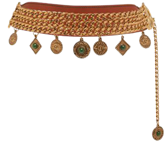 Chain-Embellished Wide Leather Belt By Etro | Moda Operandi
