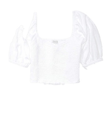 AE Smocked Sweetheart Neck Top