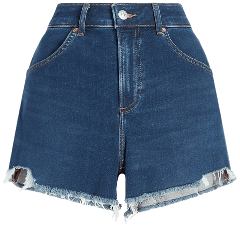 Super High Waisted Knit Raw Hem Curvy Mom Jean Shorts | Express