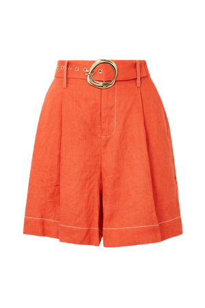 Helios Belted Linen Shorts - Orange