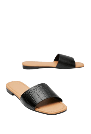 Croc Faux Leather Flat Sandals | Nasty Gal