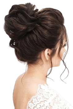 Messy high bun on blonde highlighted hair, gorgeous for a wedding updo in 2019 | Bridesmaid hair side, High bun hairstyles, Bridesmaid hair