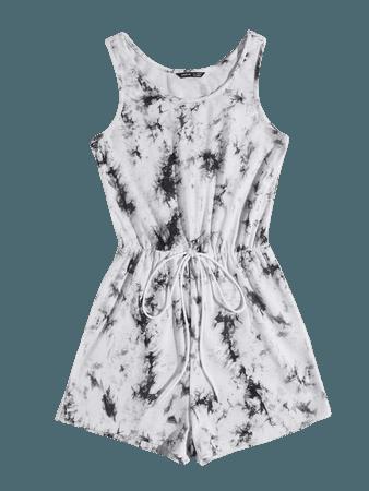 Knot Waist Tie Dye Romper | SHEIN USA
