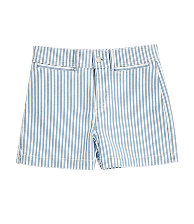 High Waist Denim Shorts in Blue Stripe