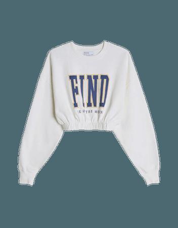 White Printed sweatshirt with elastic detail - Sweatshirts and Hoodies - Woman | Bershka