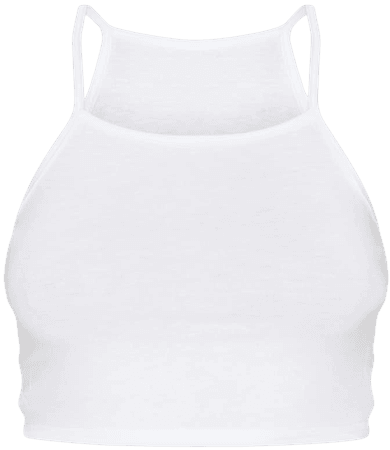 Basic White Jersey Racer Neck Crop Top | Tops | PrettyLittleThing