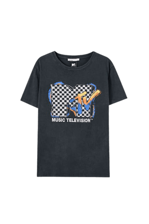 Plaid MTV T-shirt - 100% ecologically grown cotton - pull&bear