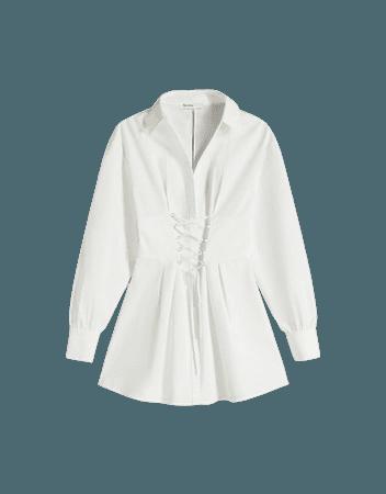 Poplin shirt dress with lace-up detail - Dresses - Woman   Bershka